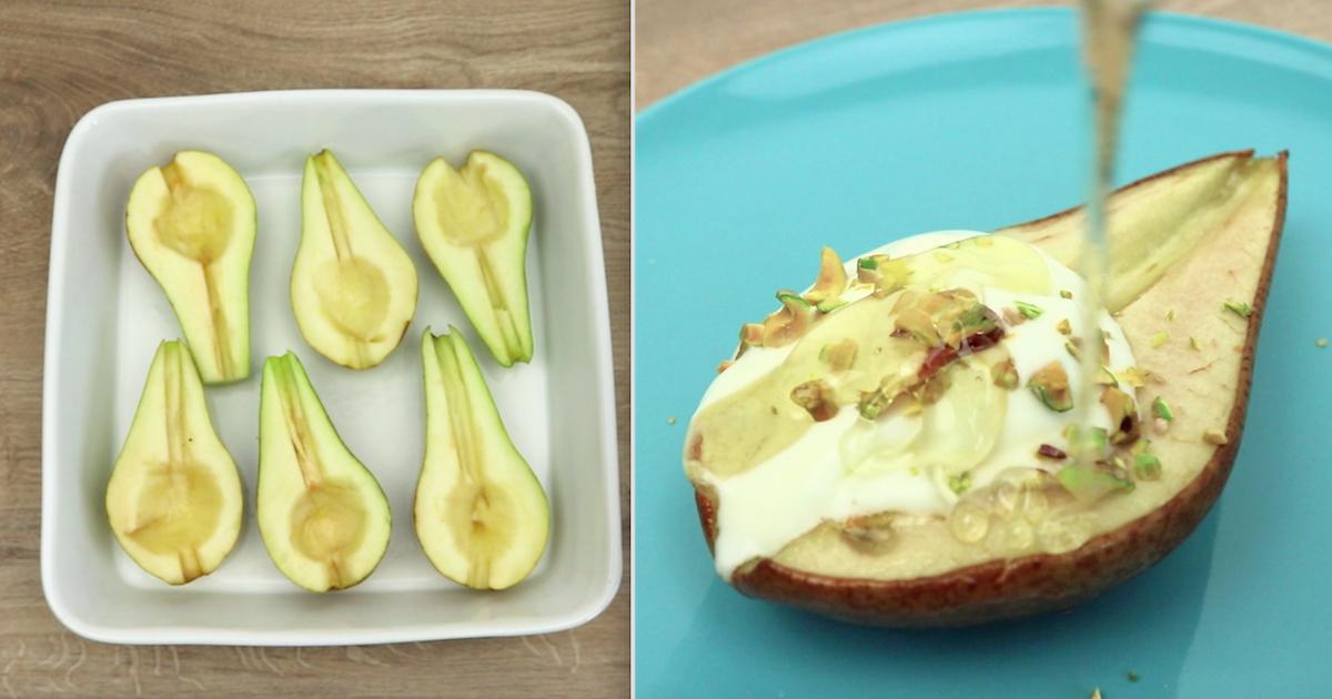 Słodkie pieczone gruszki z polewą, posypane słonymi pistacjami – to wręcz idealne połączenie smaków!