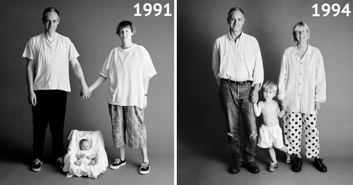 Ta rodzina robiła sobie takie samo zdjęcie co roku przez 22 lata. Ostatnie jest porażające!