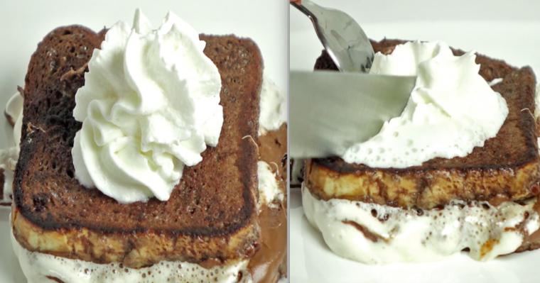 Tost z czekoladą, piankami i bitą śmietaną. Po prostu niebo w gębie, a do tego wygląda cudownie!