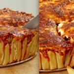 Pyszne ciasto makaronowe z serem i aromatycznym sosem. Idealne dla miłośników makaronów!