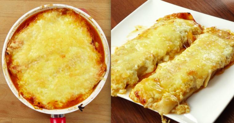 Wegetariańskie, zapiekane tortille w zalewie z serem, papryką i cebulą. To dopiero są pyszności!