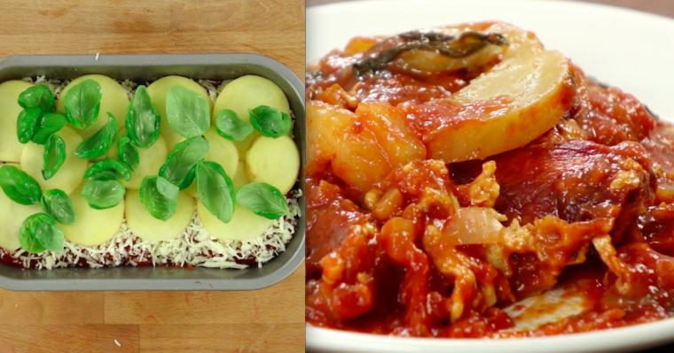 Lasagne z dodatkiem ziemniaków – danie, które połączyło w sobie bardzo ciekawe smaki.