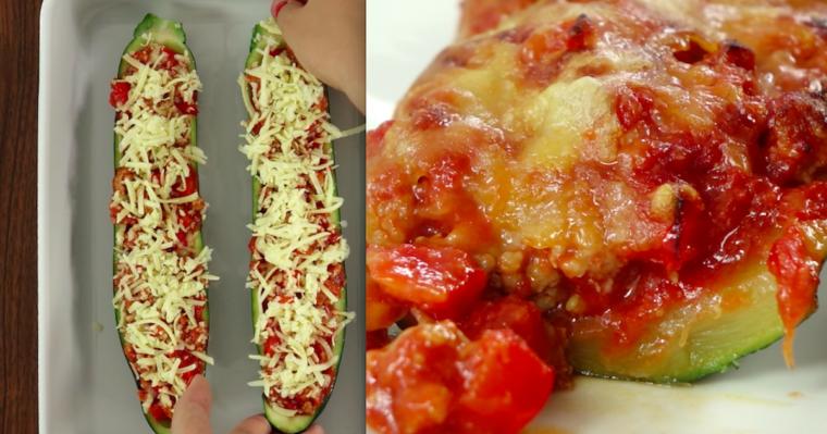 Cukinia faszerowana mięsem mielonym , pomidorami, papryką i cebulką.