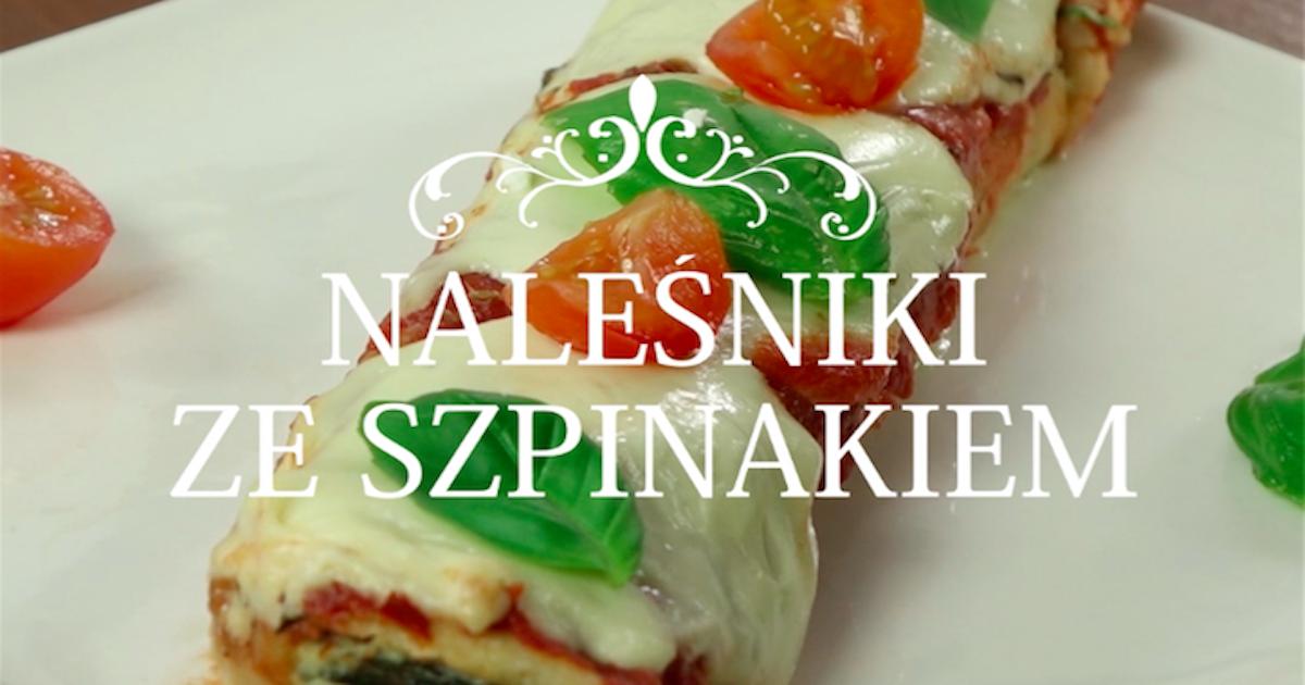 Zapiekane naleśniki ze szpinakiem i ricottą w sosie pomidorowym z mozzarellą