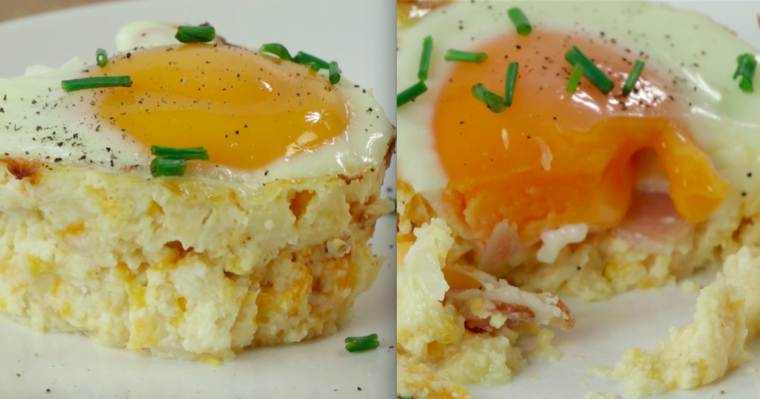 Pyszne domowe babeczki z kalafiorem, serem, boczkiem i jajkiem