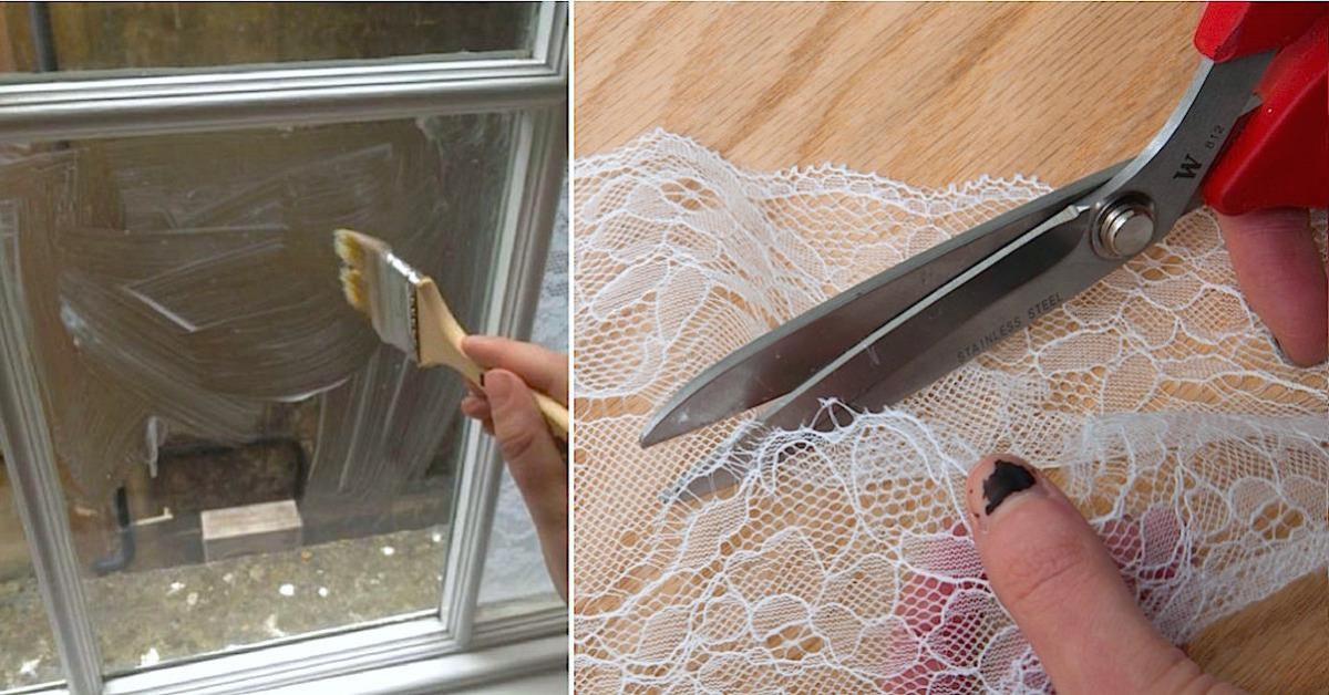 Znudzona zwykłymi firankami, pocięła koronkę i przykleiła na okno. Dzięki temu zyskała prywatność