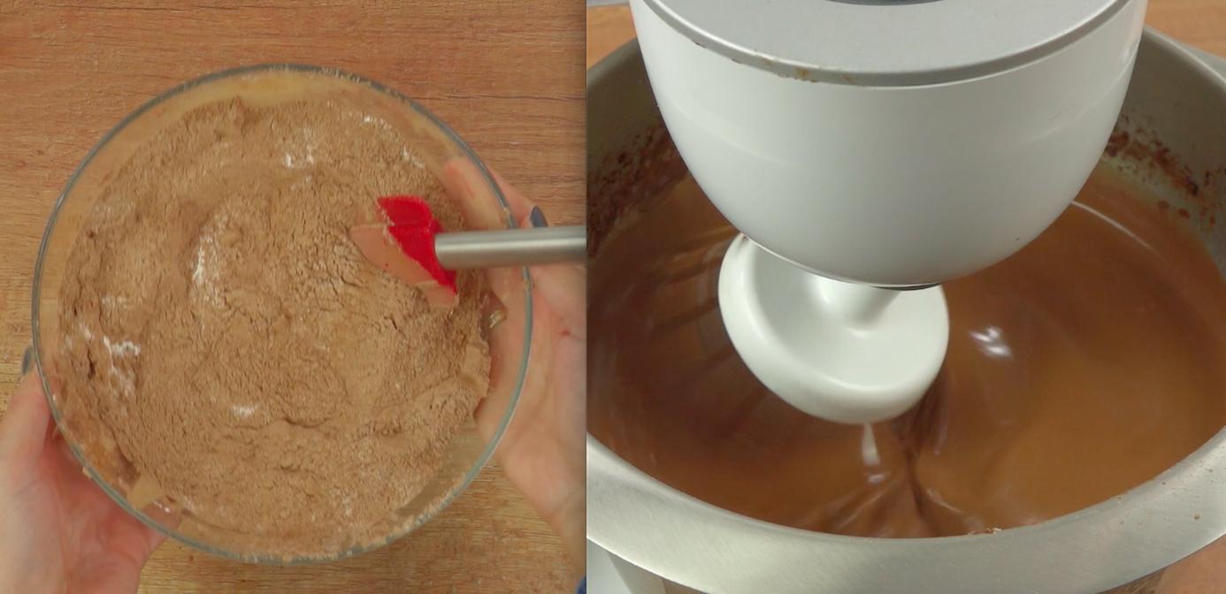 Na początku zajmiemy się przygotowaniem naleśników. W tym celu w misce wymieszaj ze sobą mąkę, kakao i 100 g cukru. Następnie cały czas miksując stopniowo dodawaj jajka, 100 g roztopionego masła i ciepłe mleko. Miksuj tak długo, aż masa będzie miała jednolitą konsystencję.