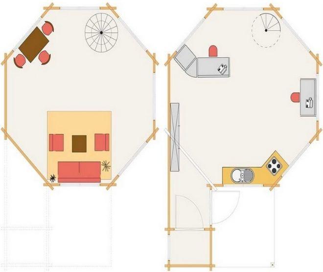 Wybudowano domek w kształcie ośmiokąta. Choć ma powierzchnię 26m² mieści wszystko, co potrzebne