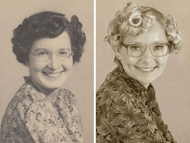 16 osób, które odtworzyły zdjęcia swoich dziadków sprzed lat. Podobieństwo zaskakuje