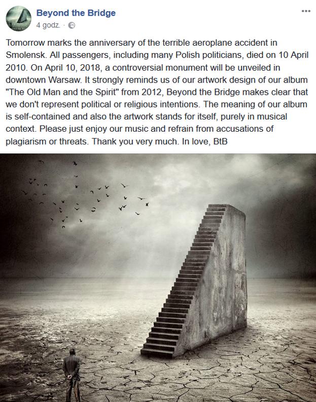 Niektórzy uważają, że projekt pomnika smoleńskiego jest plagiatem okładki znanego zespołu