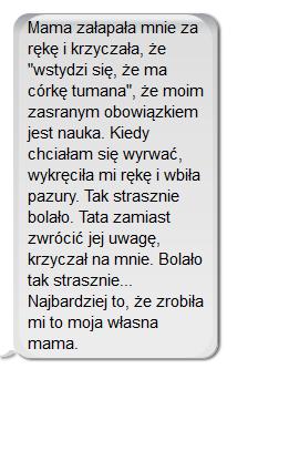 Zuzia jest córką nauczycieli. Rodzice używają przemocy, gdy dostanie 4 zamiast 5