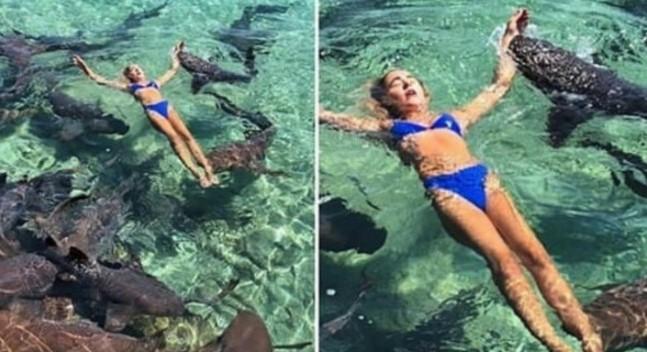 Pozowała do zdjęcia na Instagram. Nagle zaatakował ją jeden z pływających obok rekinów