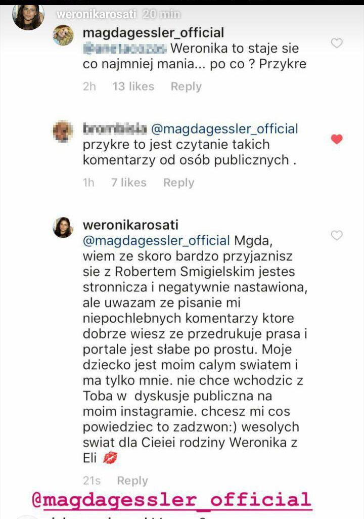 """Magda Gessler pod zdjęciem córki Weroniki Rosati napisała """"Przesada"""". Aktorka zareagowała"""