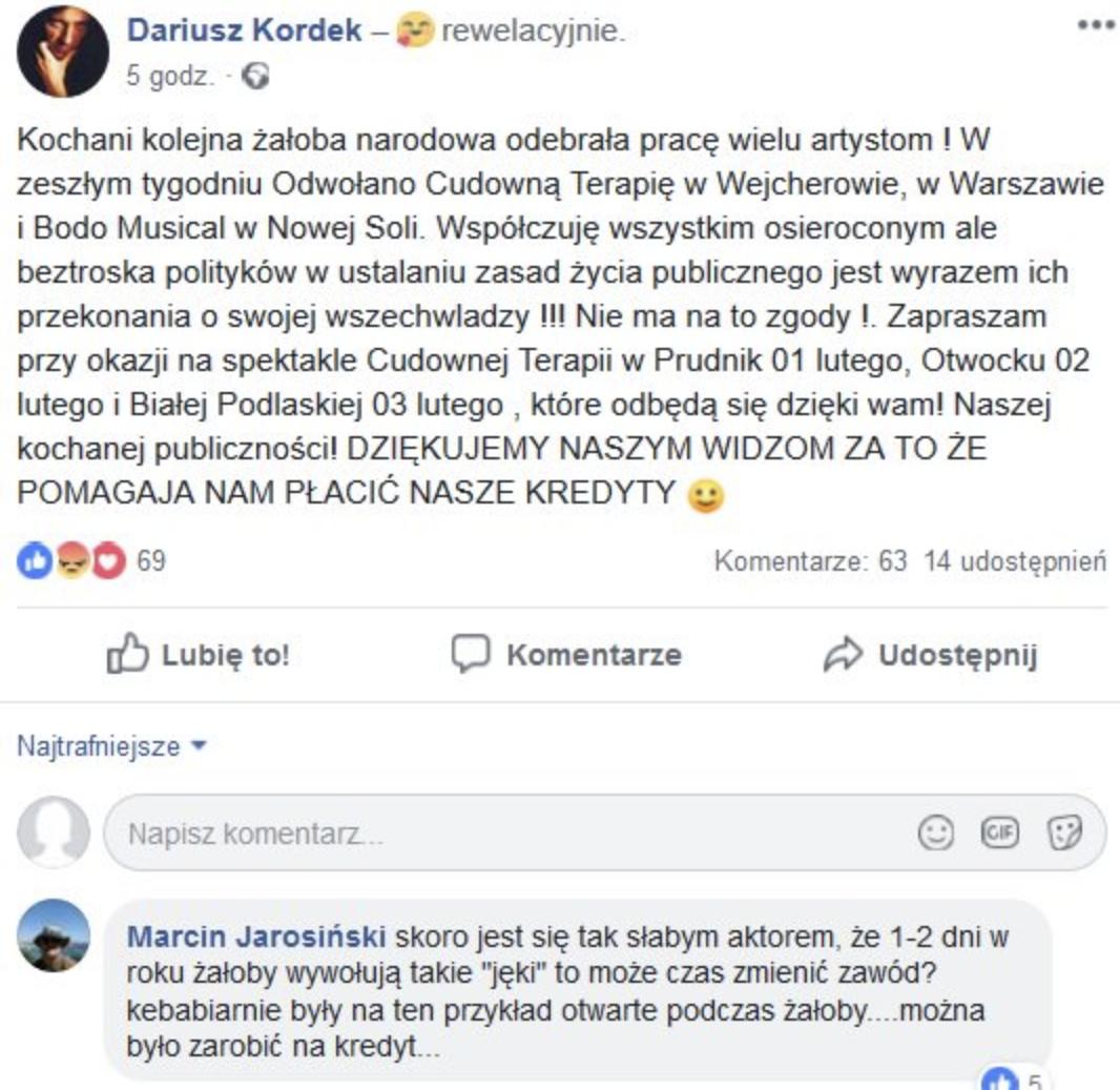 Aktor oburzony żałobą po śmierci Adamowicza. Jednak jego wpis szybko znika z Facebooka