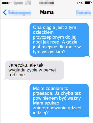 Mąż Ani jest zazdrosny o ich synka. Napisał SMS-a do matki, w którym skarży się na żonę