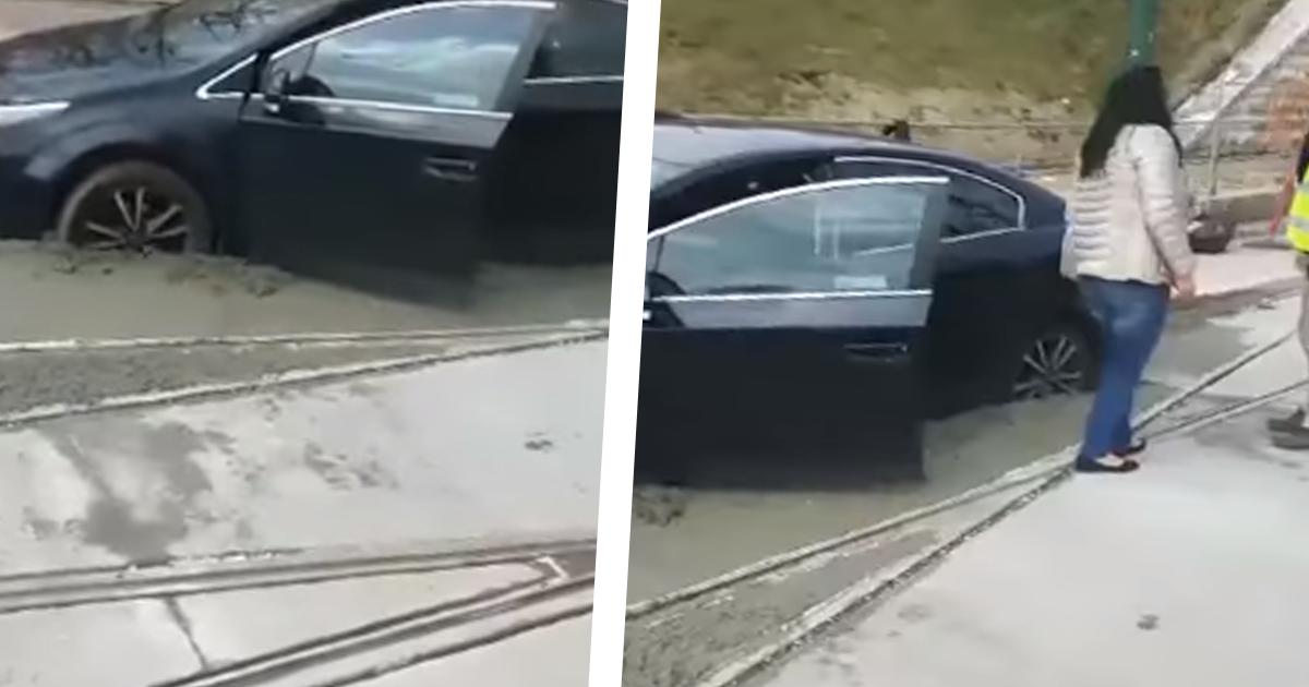 W Sosnowcu kobieta wjechała na świeżo wylany beton. Film jest hitem w sieci