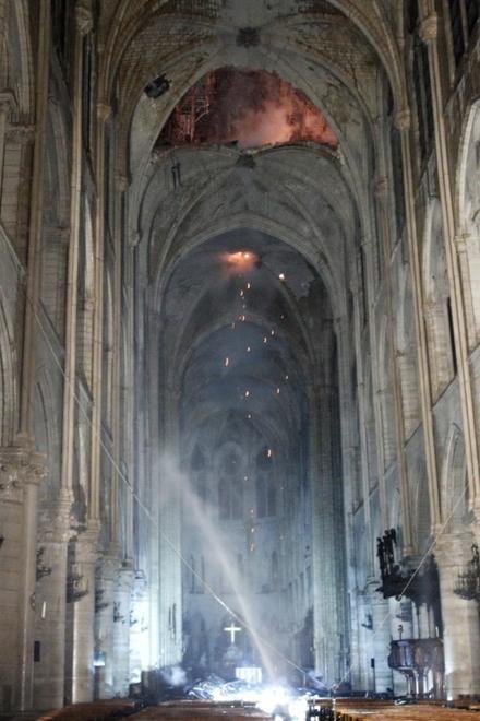 wnętrze katedry Notre Dame po pożarze