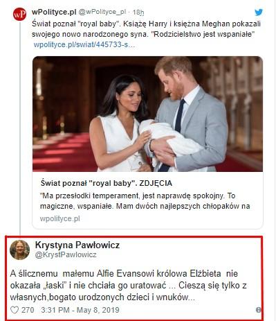 Pawłowicz o royal baby