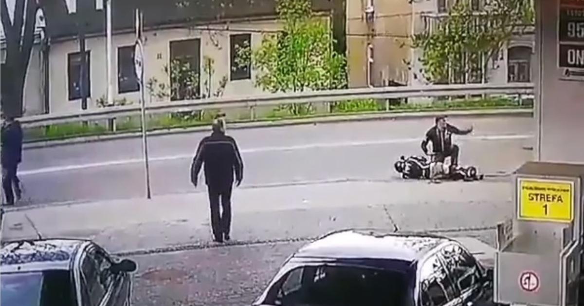 drastyczne nagranie z wypadku motocyklisty