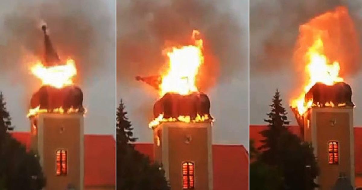 Pożar kościoła w miejscowości Frednowy