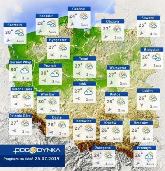 prognoza pogody na piątek 25 lipca
