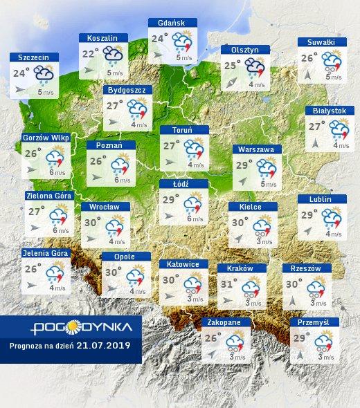 mapa temperatur w polce w niedzielę 21 lipca