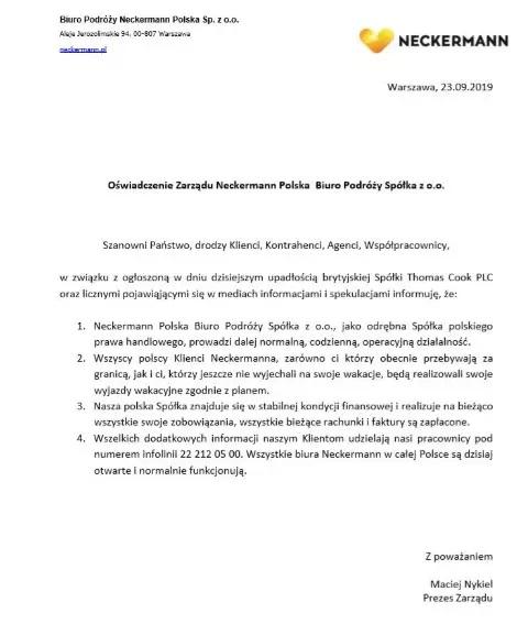 Dramat klientów Neckermann Polska