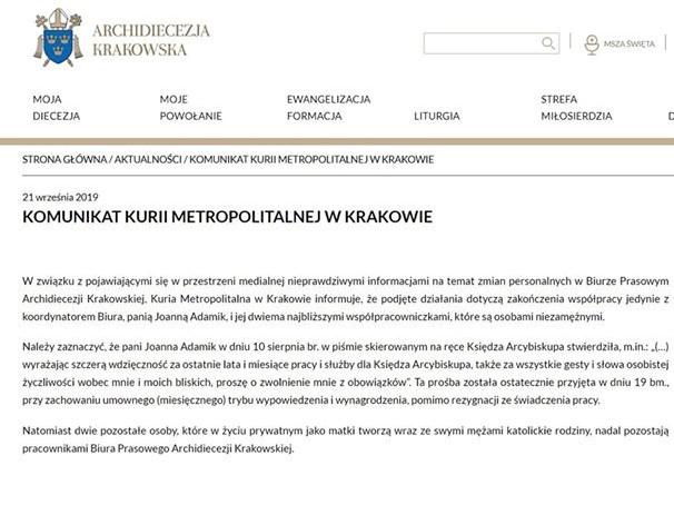 komunikat krakowskiej kurii o zwolnieniach