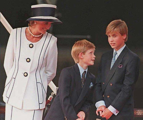księżna diana, książę harry i william