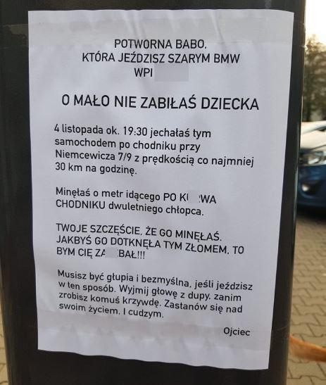 kartka do kierowcy BMW z Warszawy