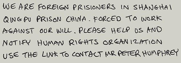 List od przymusowego robotnika z Chin