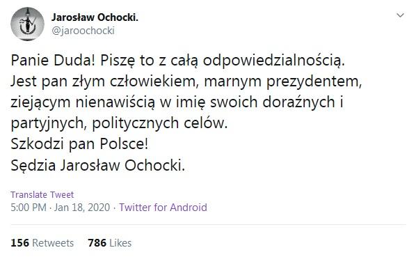 sędzia Ochocki obraził prezydenta 4