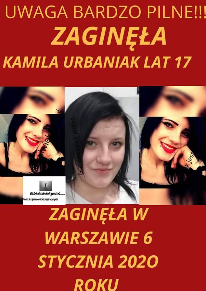 zaginęła 17-letnia Kamila Urbaniak