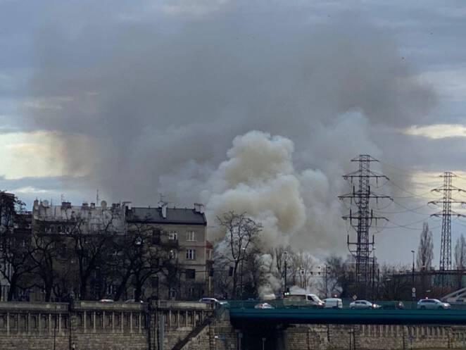 pożar pustostanu w Krakowie