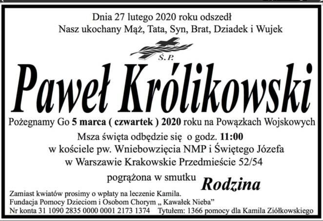 Nekrolog Pawła Królikowskiego