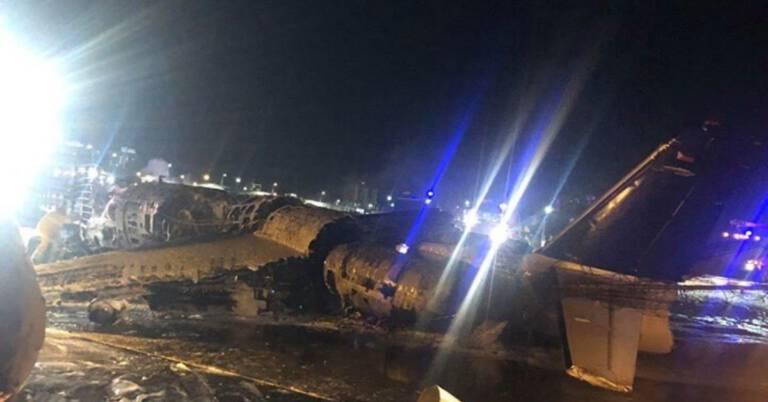 Pożar samolotu z zaopatrzeniem medycznym
