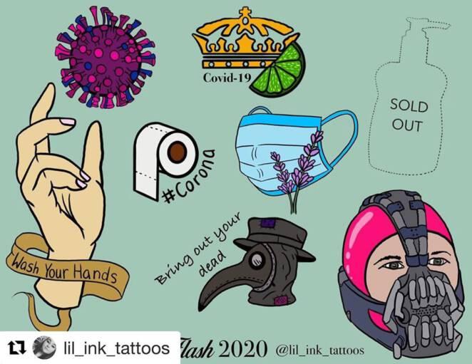 Tatuaż związany z koronawirusem