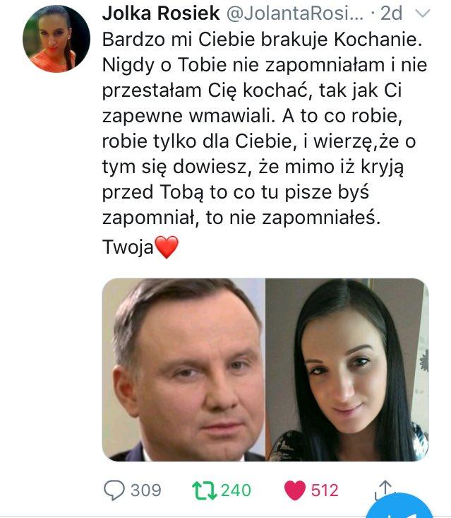 Jolka Rosiek stawia ultimatum Andrzejowi Dudzie