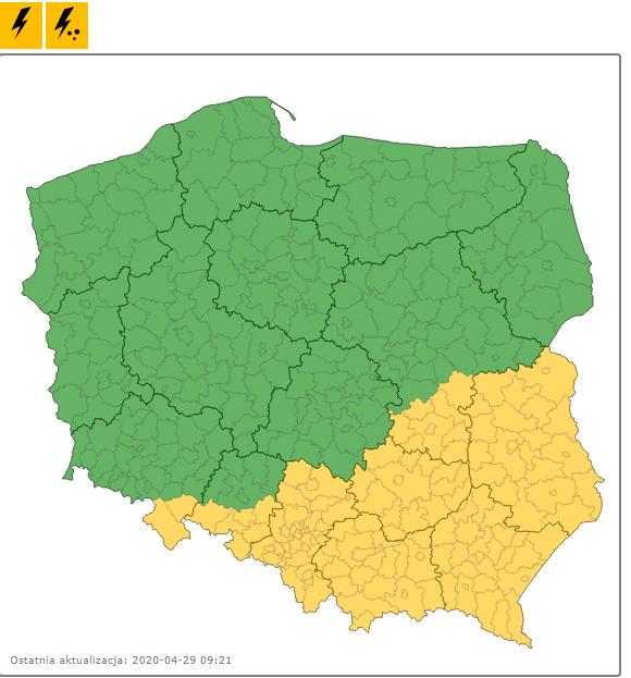 Burze z gradem nad Polską