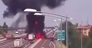 Eksplozja cysterny na autostradzie