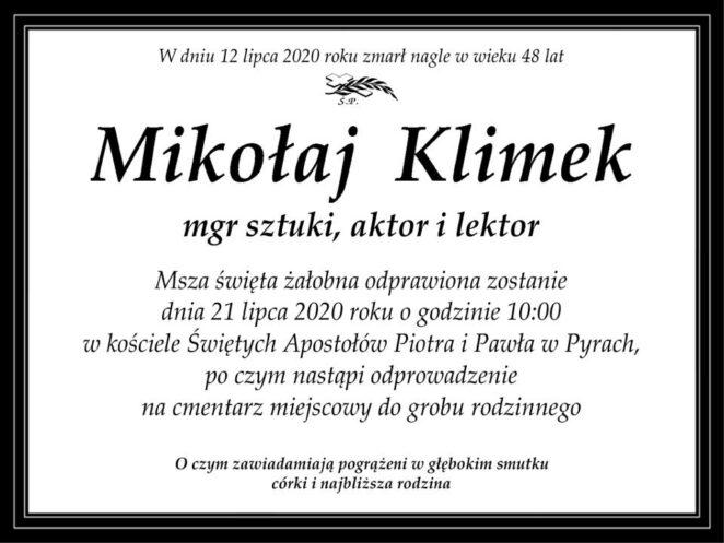 Nie żyje Mikołaj Klimek