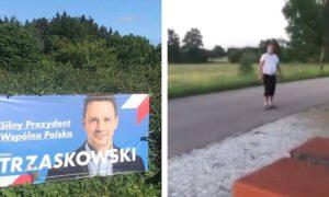 Groził spaleniem domu za plakat Trzaskowskiego. Policja bada sprawę