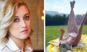 Justyna Żyła w skąpym stroju opalała się na trawie. Dzieci nie mogły tego znieść