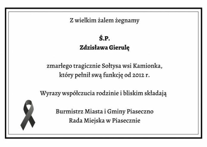 Nie żyje sołtys wsi Kamionka