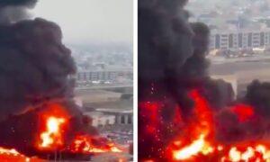Ogromny pożar w Adżmanie! Gęsty, czarny dym spowił całe miasto