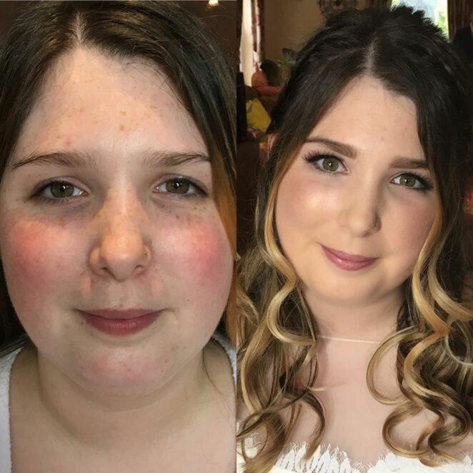 Przed i po wizycie u makijażystki