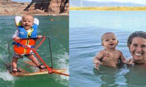 Niemowlę na nartach wodnych. Przez głupotę rodziców dziecko ma krzywe nogi