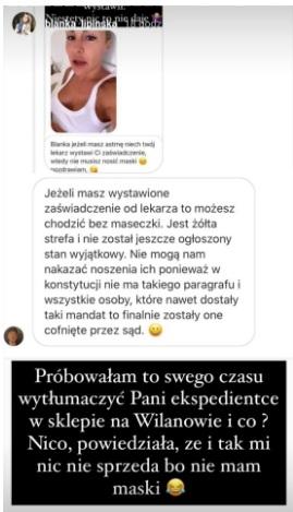 Blanka Lipińska nie chce nosić maseczki 3