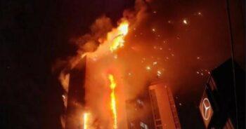 przerażający pożar wieżowca