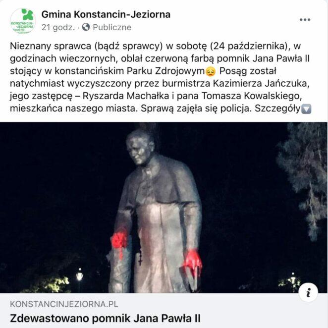 zdewastowano pomnik papieża